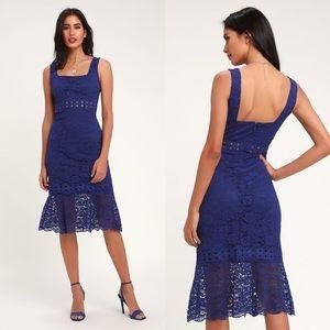 Lulu's   Vibrant Life Lace Midi Dress